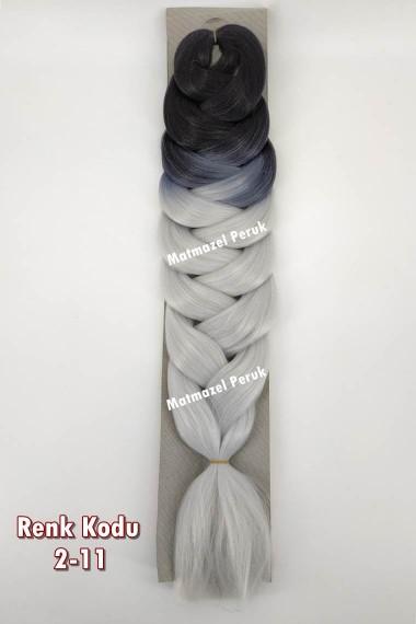 Sentetik Afrika Örgüsü Saçı Siyah Gri Ombre Renk Kodu -2-11