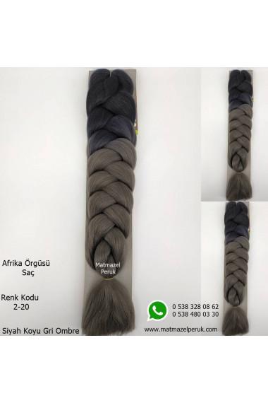 Sentetik Afrika Örgüsü Saçı Siyah Koyu Gri Ombre Renk Kodu -2-20