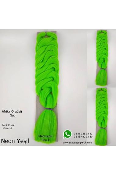 Sentetik Afrika Örgüsü Saçı Yeşil Renk Kodu -Green