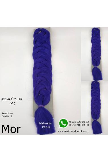 Sentetik Afrika Örgüsü Saçı Renk Kodu -Purplee-2