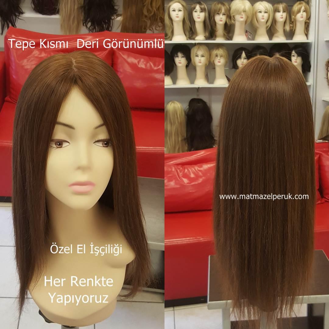 gerçek saç peruk tepe kısmı deri görünümlü
