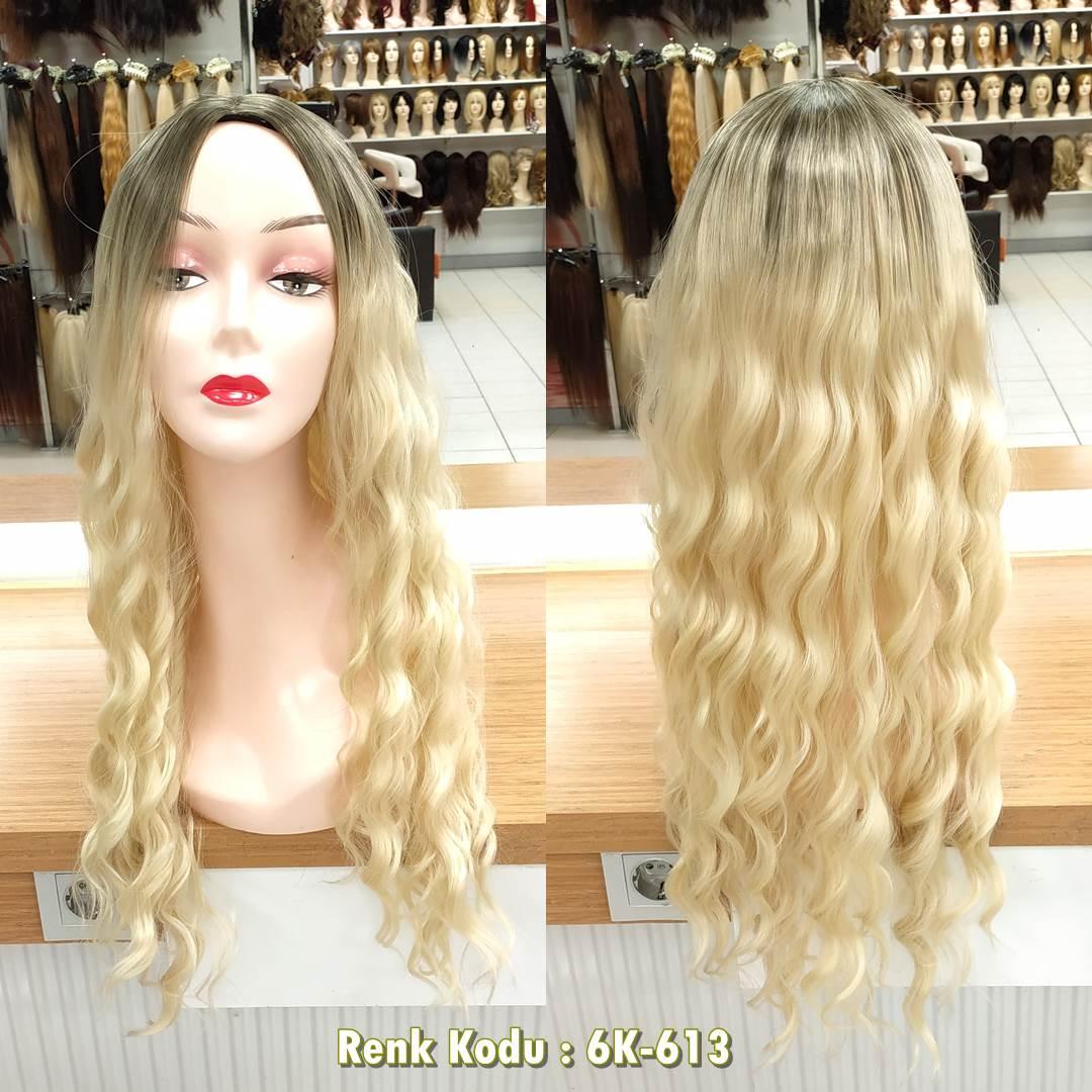 uzun sentetik peruk bakır renk