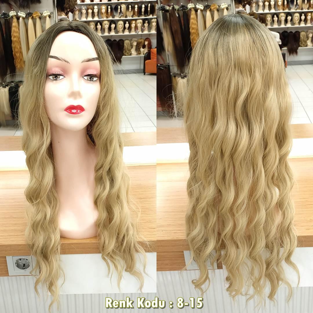uzun kahkülsüz fiber sentetik peruk
