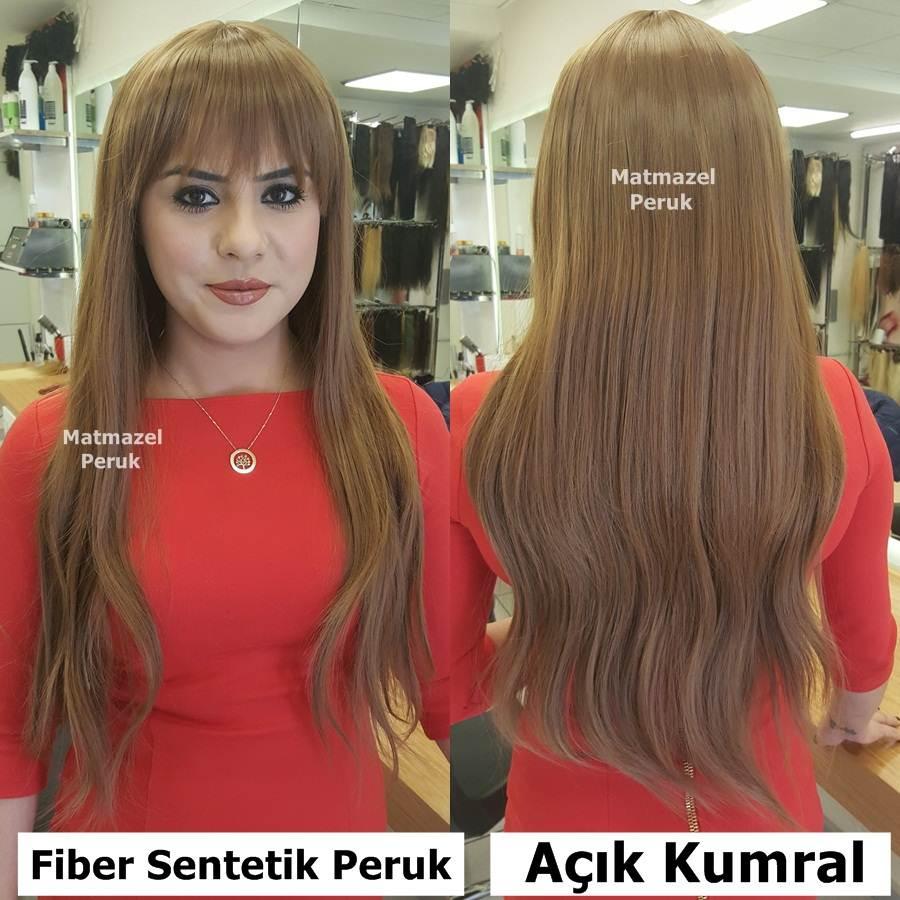 açık kumral uzun sentetik peruk