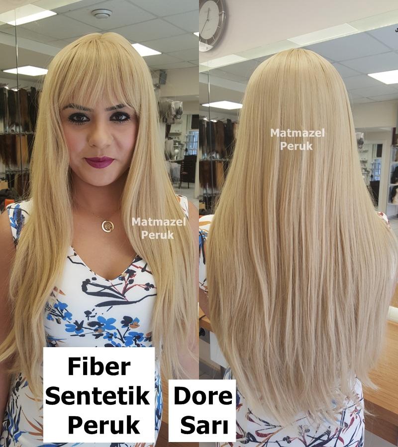 uzun sentetik peruk dore sarı fiber sentetik peruk